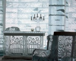 Hotel de glace, Quebec, Canada, Ice crafted furniture