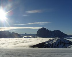 Val Gardena, Italy, Sun over the summit