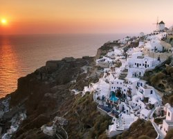 Valentines Day Holiday, Santorini, Greece, Beautiful sunset