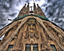 Valuable Monuments, Barcelona, Spain, Sagrada Familia front towers view