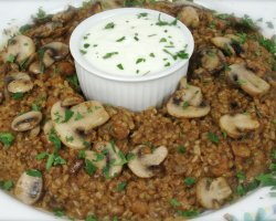 Vegetarian Tourists Destinations, Bulgur Pilaf with chick peas and mushrooms