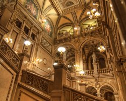 Vienna State Opera, Austria, Europe, Ceiling and stairs view