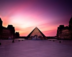 Visiting Paris Louvre, The Museum at sunset