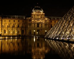 Visiting Paris Louvre, Pyramid outside night view