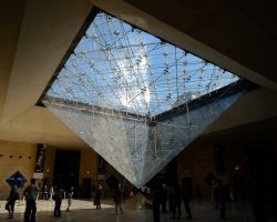 Visiting Paris Louvre, Glass Pyramid interior view