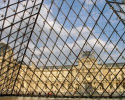 Visiting Paris Louvre, View from inside the Pyramid