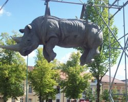 Weird and Funny Monument Holiday, Luisenplatz, Germany, Rhino suspended