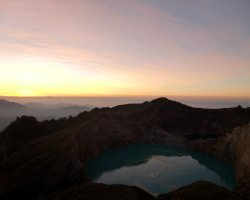 Nature Weirdness, Flores Island, Indonesia, Crate Lake Kelimutu blue lake at sunset