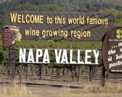 Napa and Sonoma Valleys, California, USA, Welcome sign
