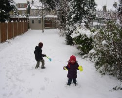 Winter Holiday, London, UK, Kids and snow