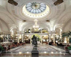 World Best Hotels, Monte Carlo, Monaco, Hotel de Paris lobby and the equestrian statue of Louis XIV