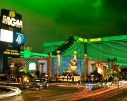 World Largest Hotels, MGM Grand, Las Vegas, Nevada, USA, Outside night view