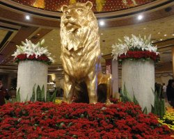 World Largest Hotels, MGM Grand, Las Vegas, Nevada, USA, Lion statue interior