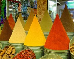 World Markets, Marrakech, Morocco, Souk spice vendors