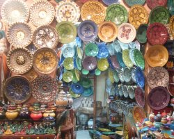 World Markets, Marrakech, Morocco, Painted pottery