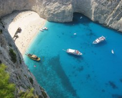 Secret Paradise, Zakynthos, Greece, Shipwreck beach aerial view