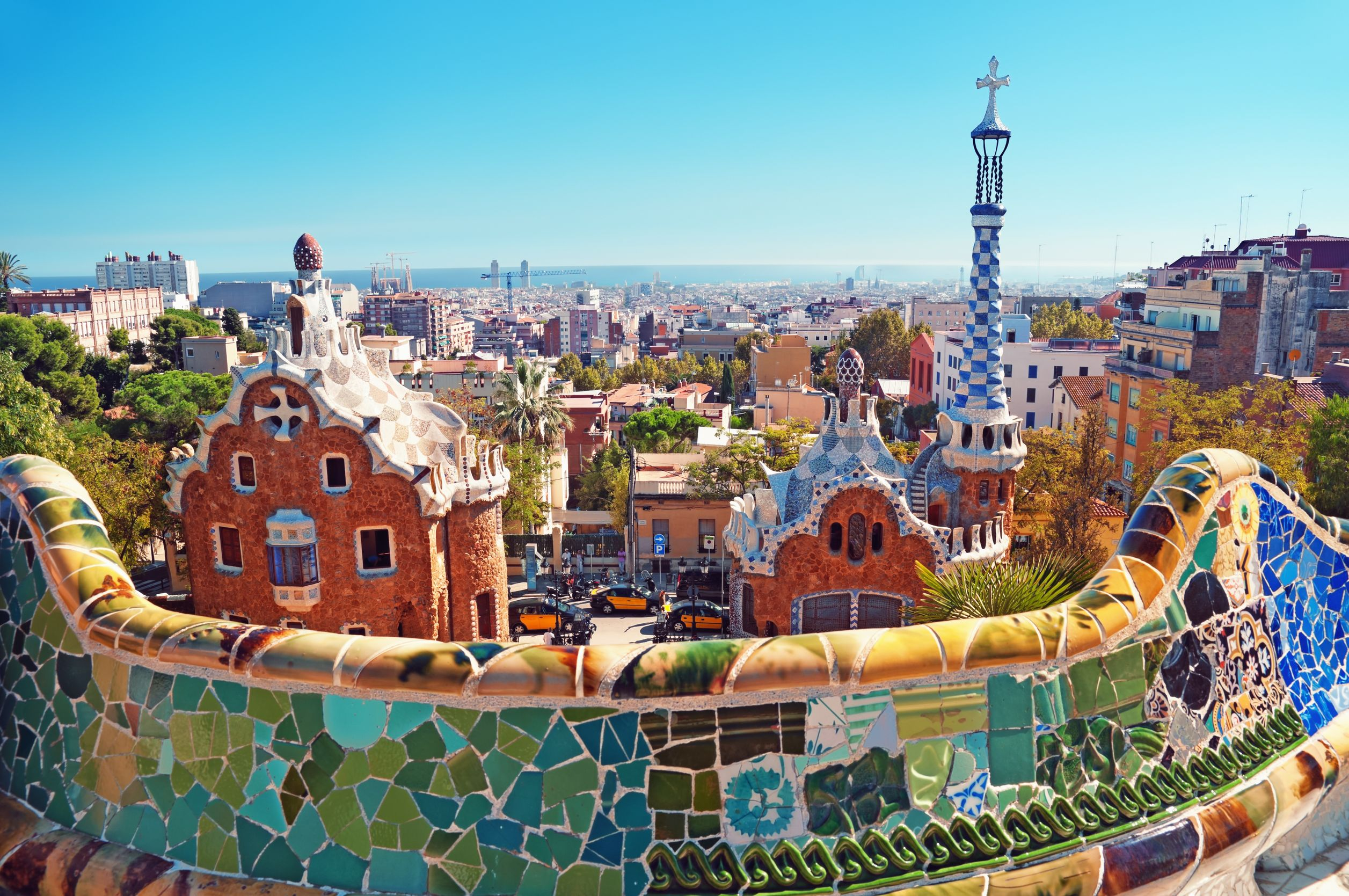 Urban parks barcelona spain park guell walls