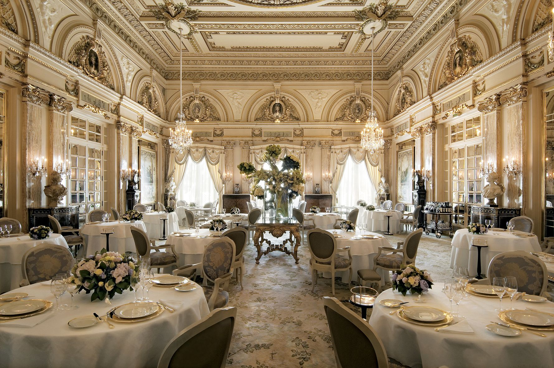 World Best Hotels, Monte Carlo, Monaco, Hotel de Paris Louis XV restaurant interior