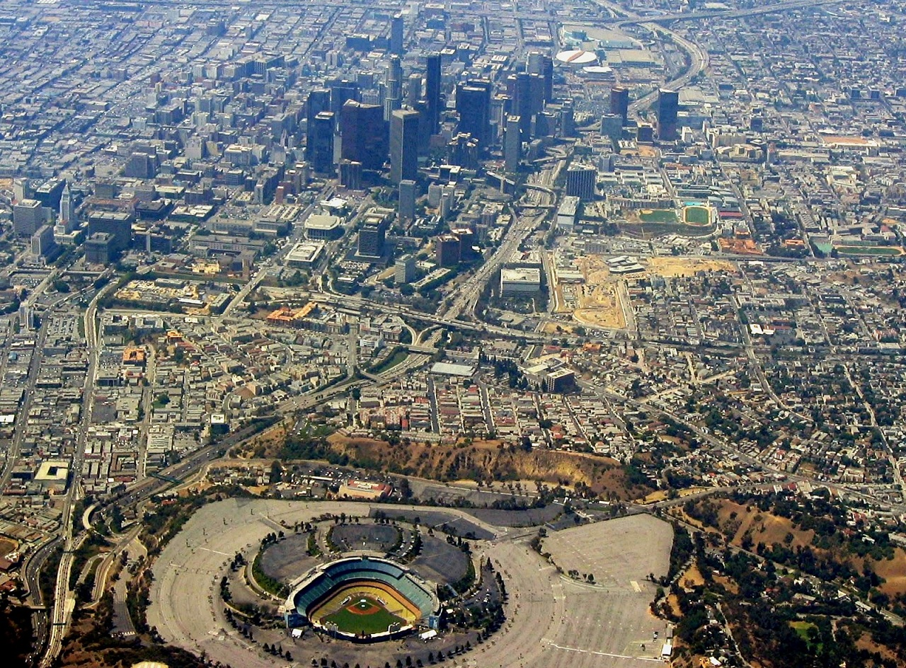 World Holiday, Los Angeles, USA, Dodger Stadium aerial view