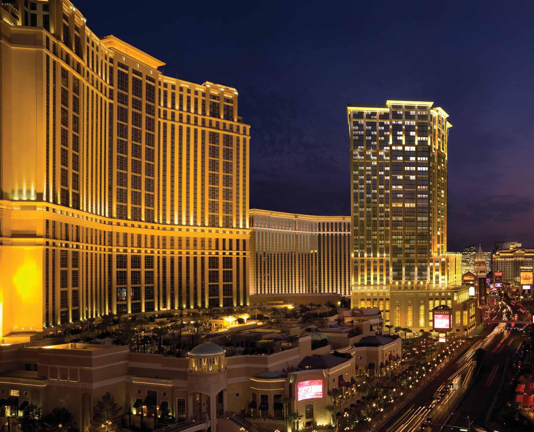 World Largest Hotels, Palazzo Megacenter, Las Vegas, Nevada, USA, Overview by night