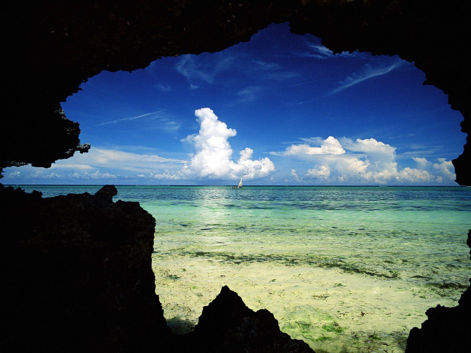 Zanzibar, Tanzania, Natural frame sea view