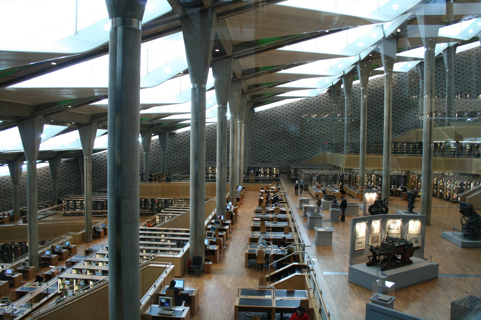 Bibliotheca Alexandrina, Egypt, Interior view of read room