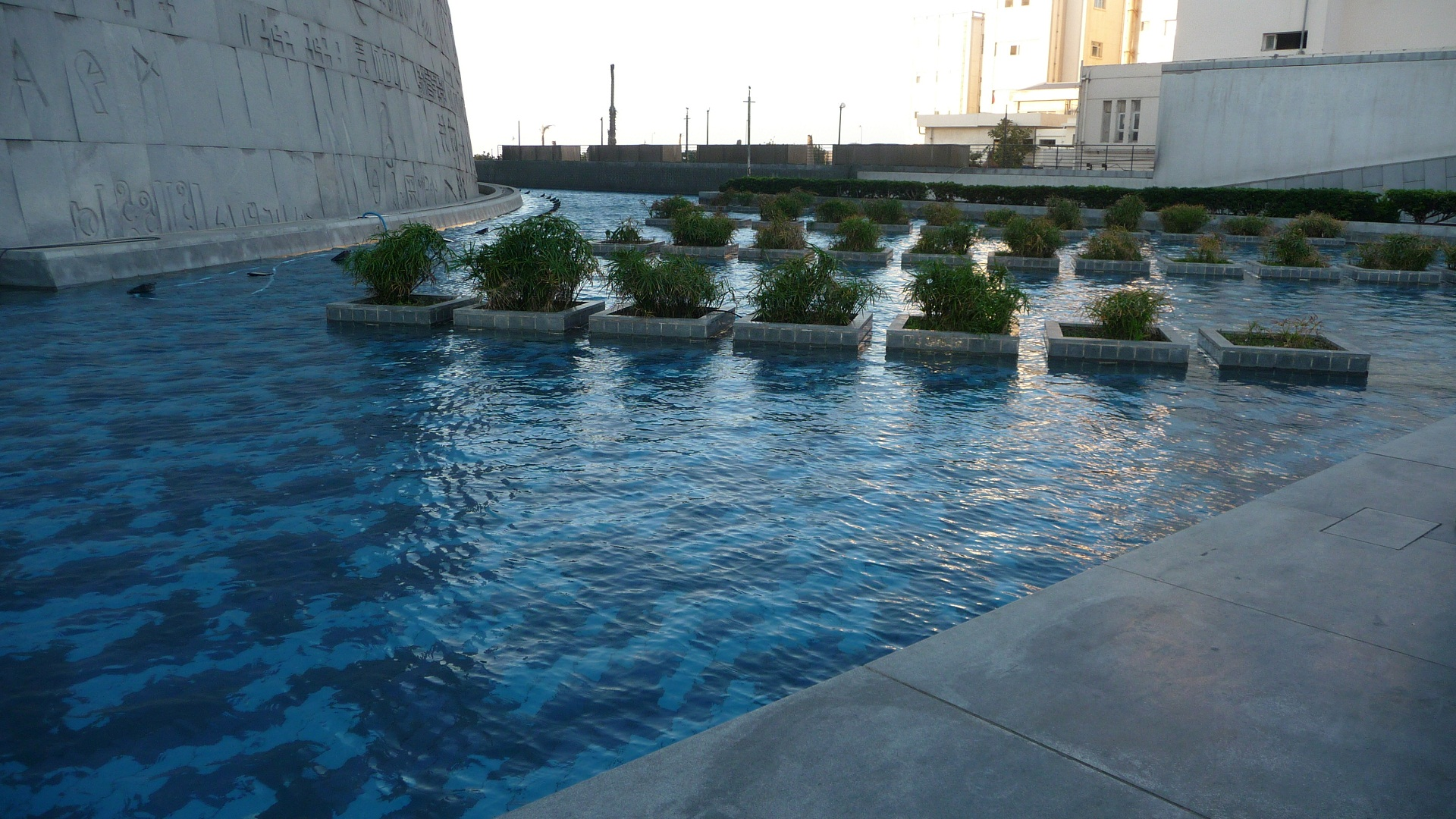 Bibliotheca Alexandrina, Egypt, Outside pool view