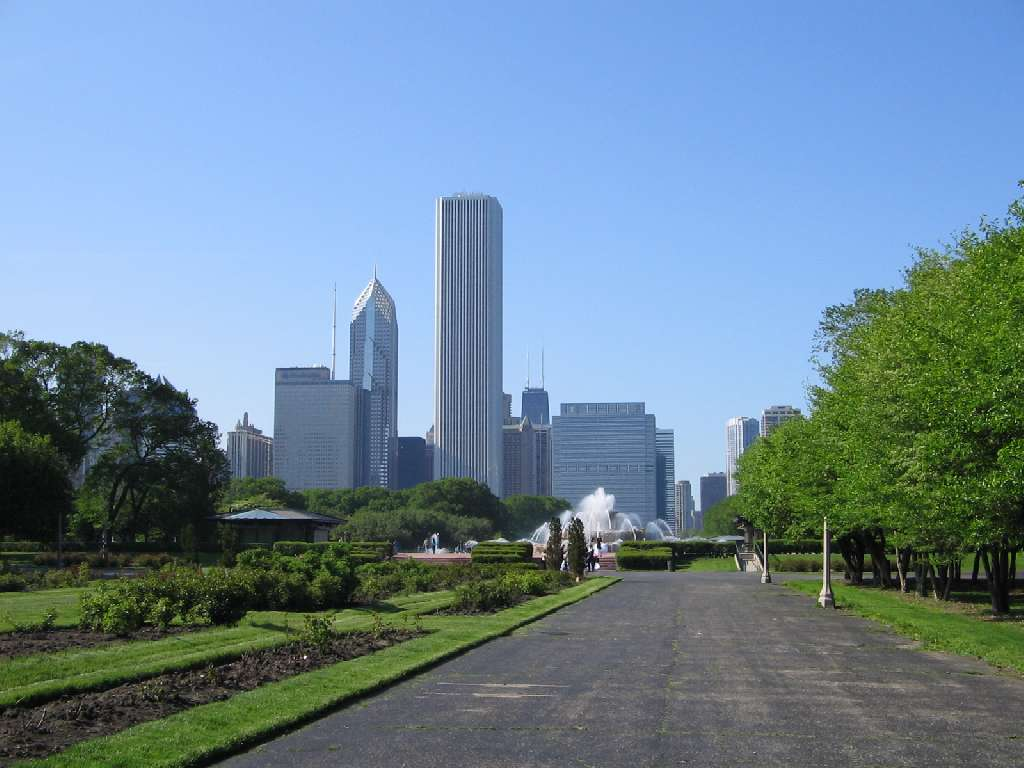 Chicago, USA, City skyline view from a park