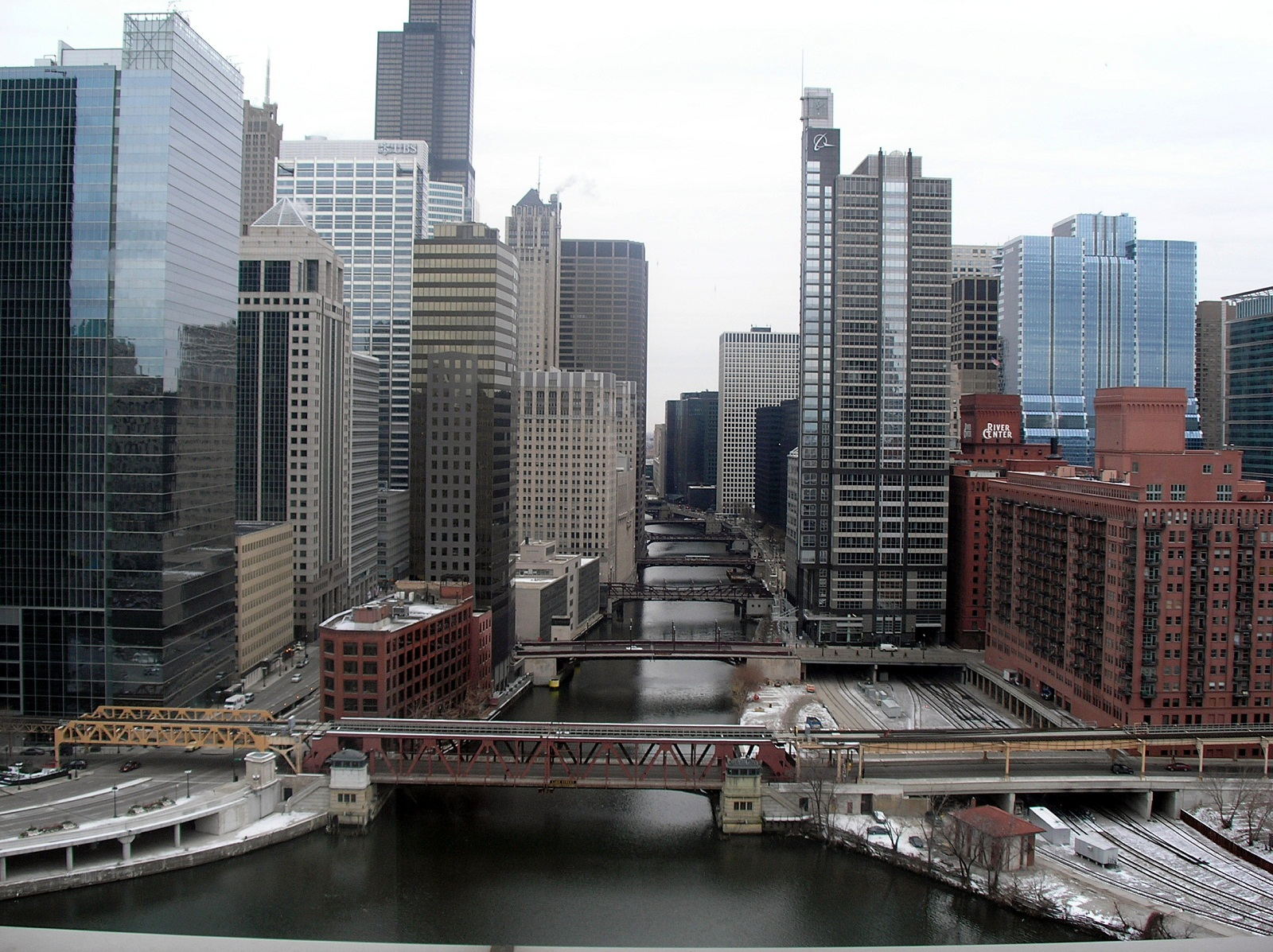 Chicago, USA, Chicago river and skyscrapers