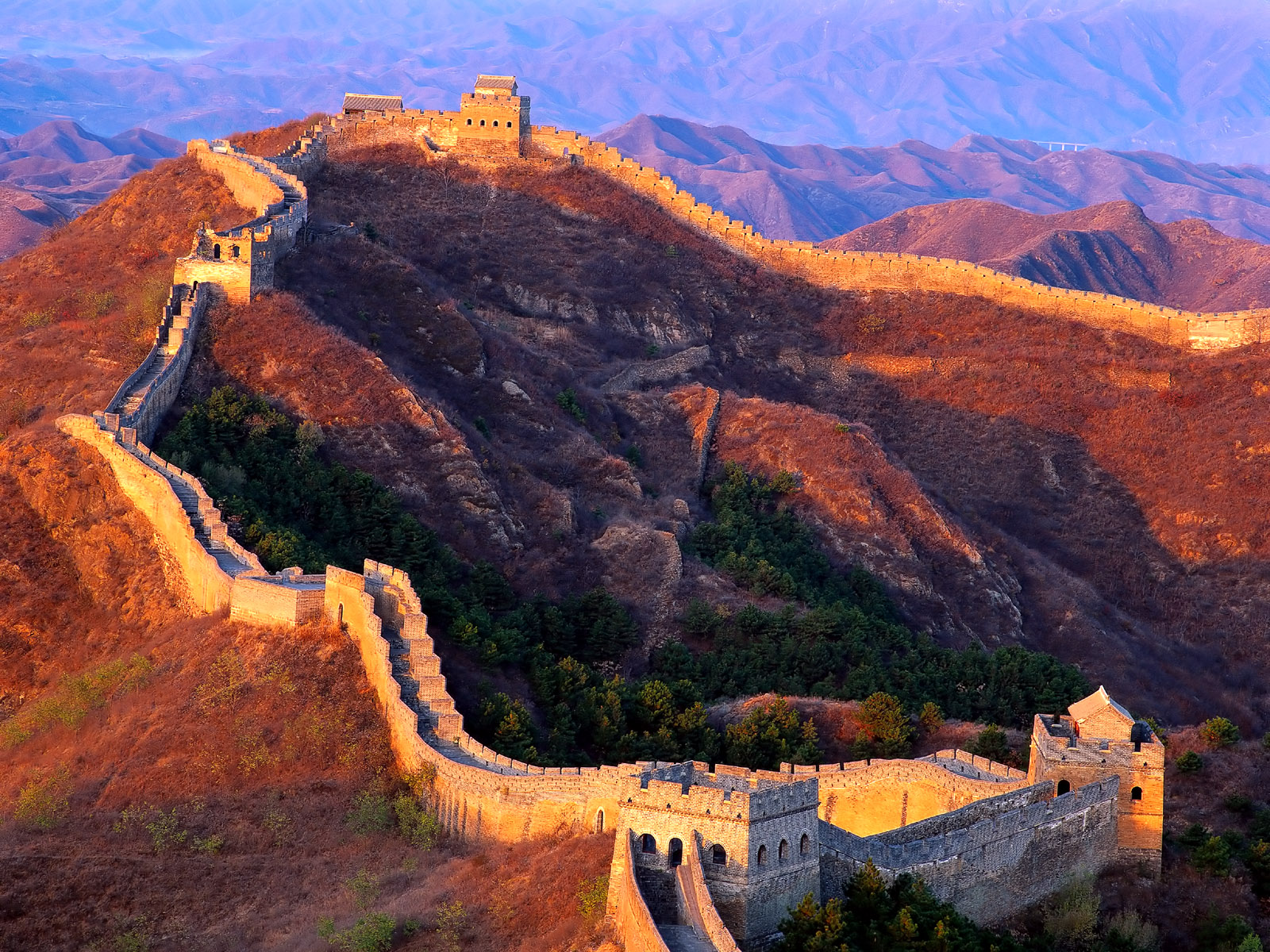 Great Wall of China, China, At sunset