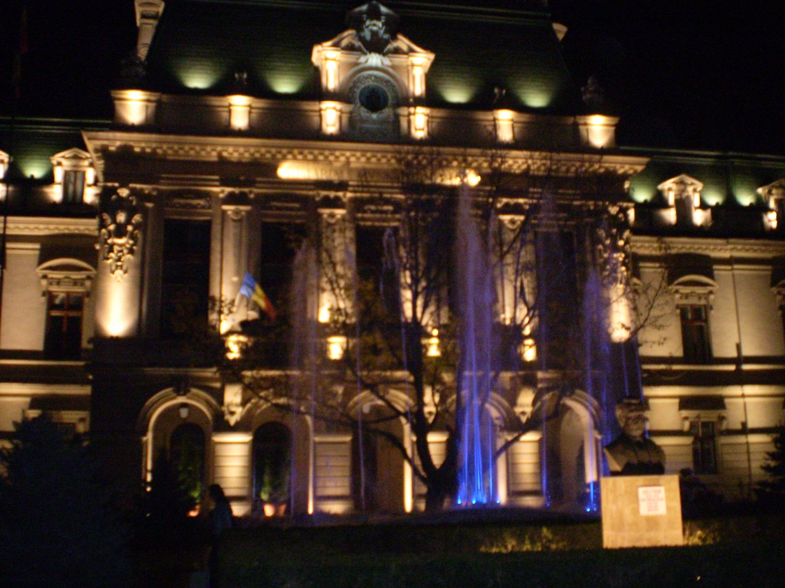 Iasi architecture, Romania, Roznovanu Palace, City Hall at night