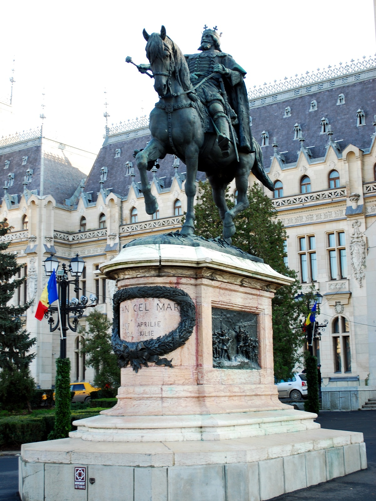 Iasi architecture, Romania, Statue of Stefan the Great front view