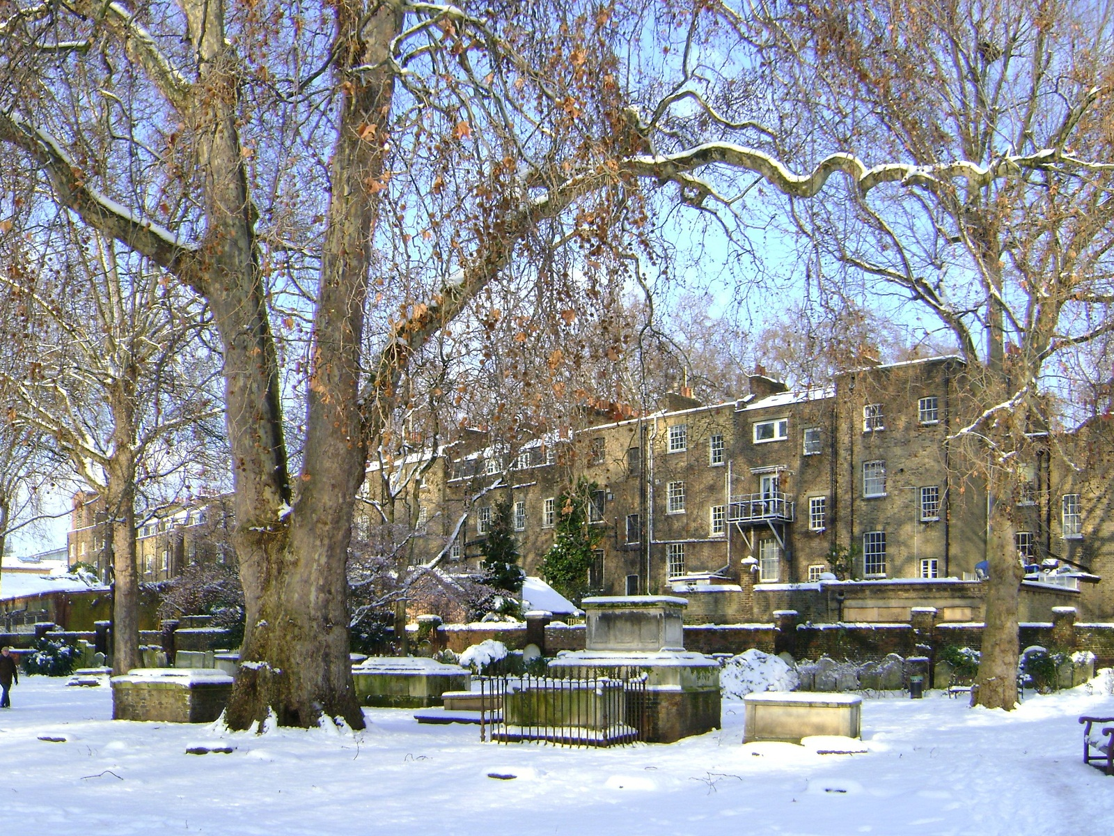 London Architecture, United Kingdom, St George Gardens at winter