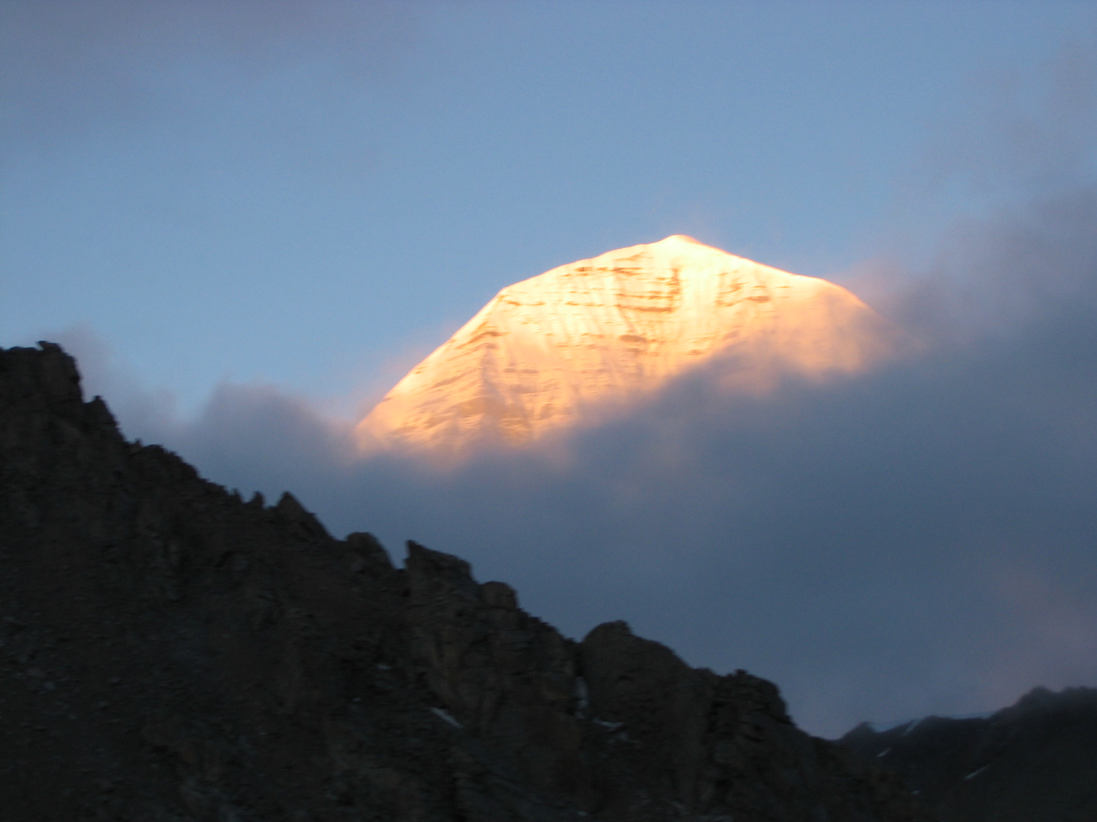 Mount Kailash, Tibet, Top view behind the mist