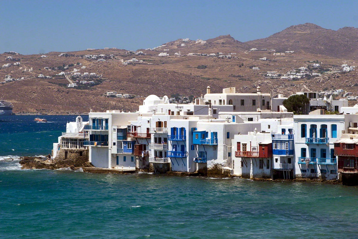 Mykonos Greece Houses Against The Waves 1521 World