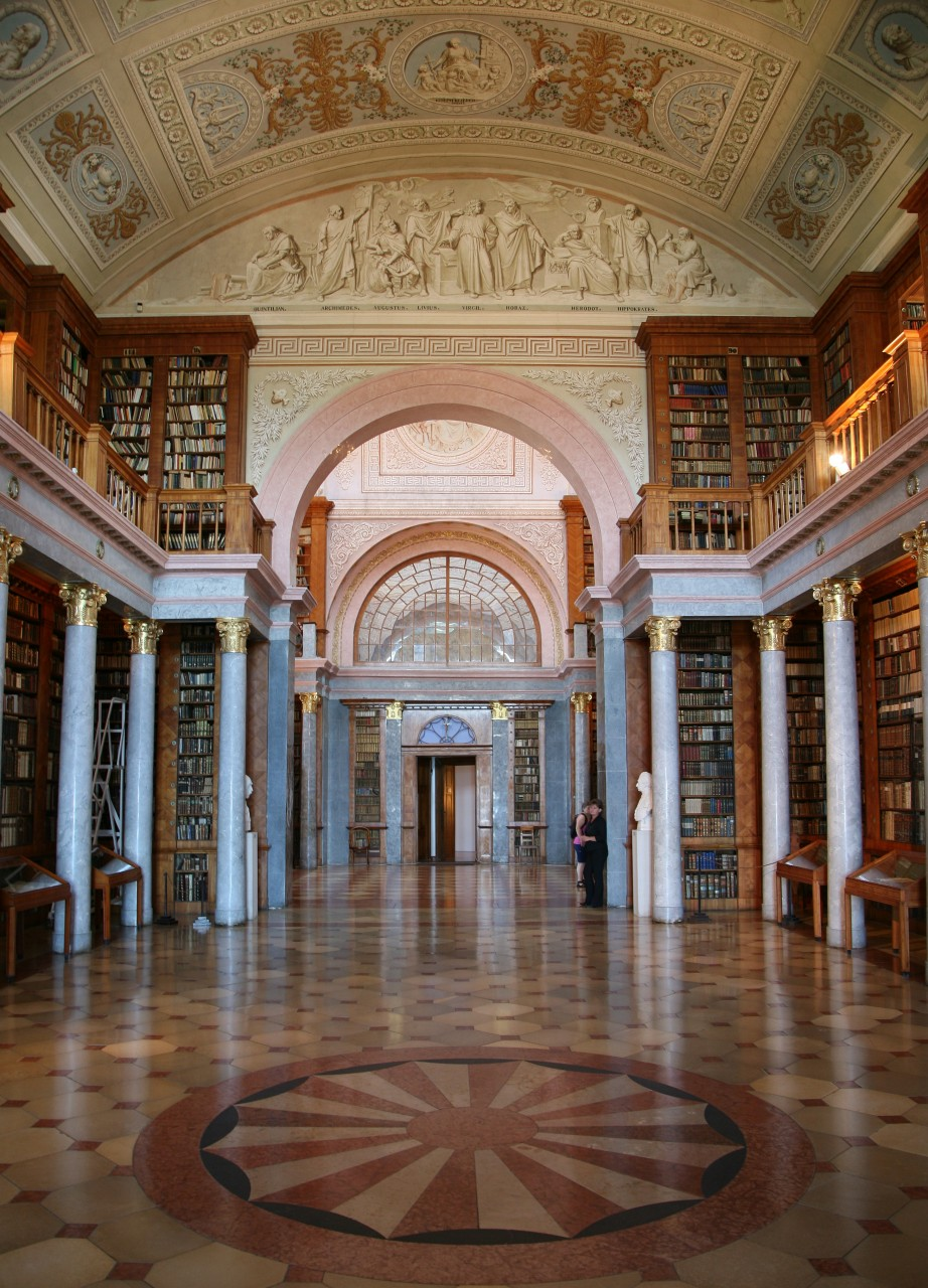 Pannonhalma Archabbey, Hungary, Europe, Library interior view