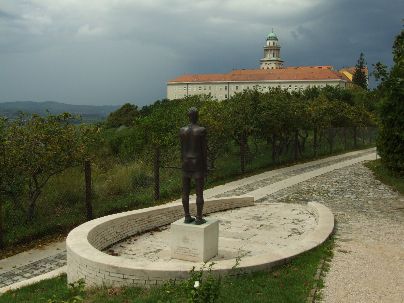 Pannonhalma Archabbey, Hungary, Europe, Statue and the abbey