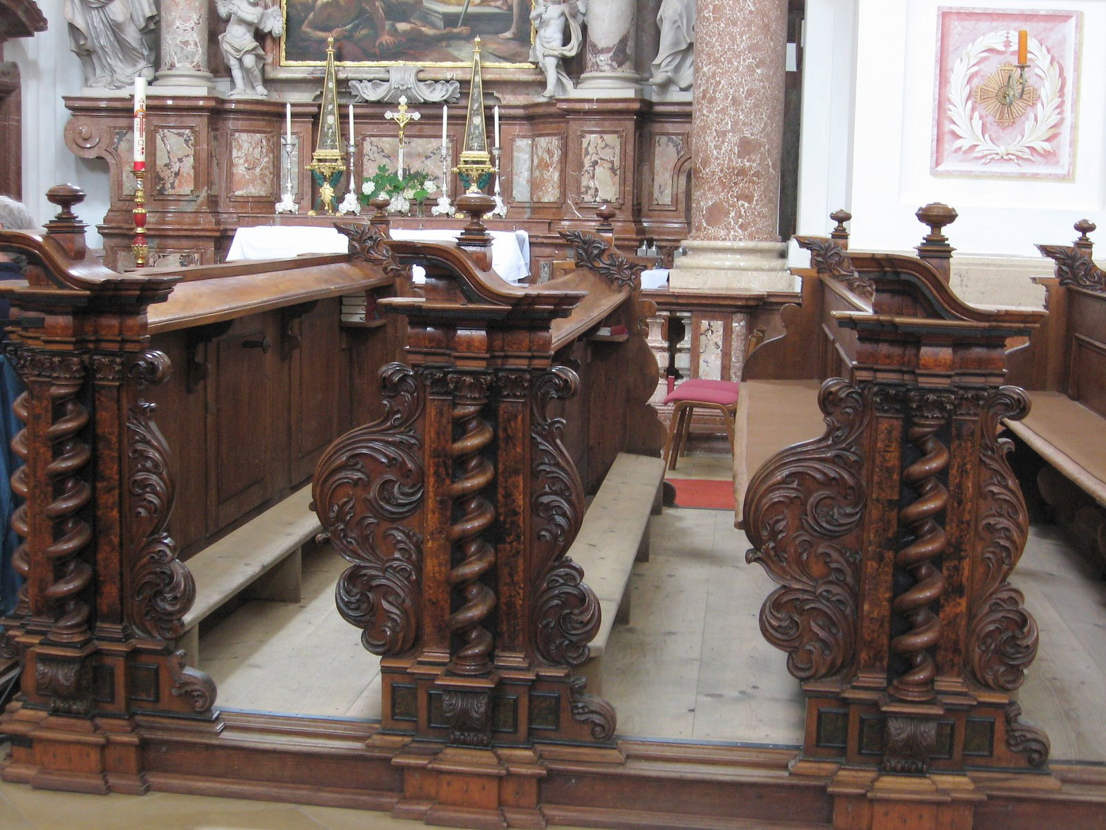 Saint Florian Abbey, Austria, The pews