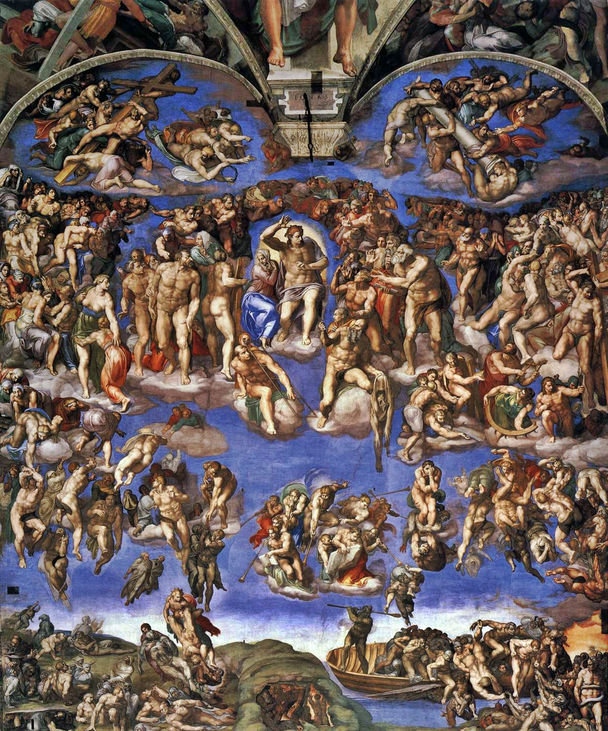 Sistine Chapel, Vatican, Michelangelo fresco, The Last Judgment detail
