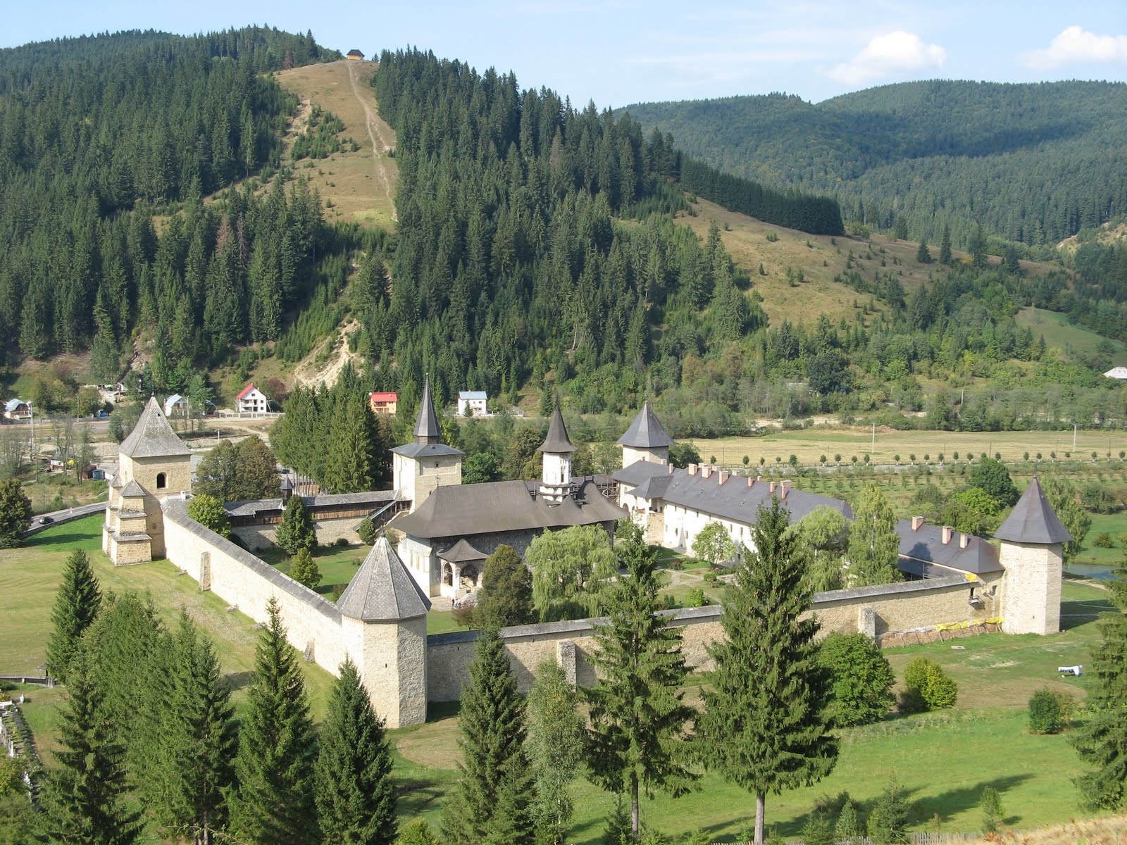 Sucevita Monastery, Romania, Panorama view at autumn
