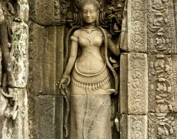 Angkor Thom, Angkor, Cambodia, Finely carved statue