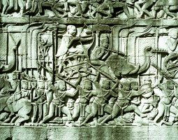 Angkor Thom, Angkor, Cambodia, Bas Relief of a battle