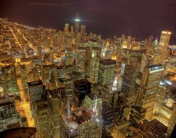 Chicago, USA, HDR image by night