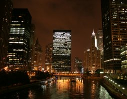 Chicago, USA, Skyscrapers near river by night