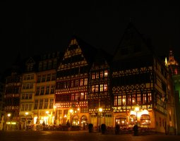 Frankfurt Architecture, Germany, Romer Plazza at night