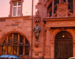 Frankfurt Architecture, Germany, Statue near fine carved door