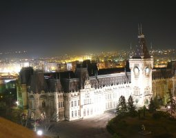 Iasi architecture, Romania, Palace of Culture by night, aerial view