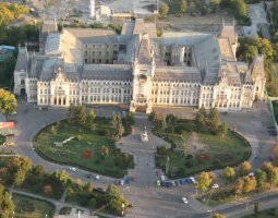 Iasi architecture, Romania, Palace of Culture aerial view