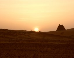 Kerma, Sudan, Meroe pyramids at sunset