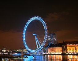 London Architecture, United Kingdom, London Eye overview by night